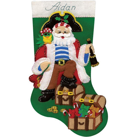 Design Works Felt Stocking Applique Kit 18 inch Long Pirate Santa
