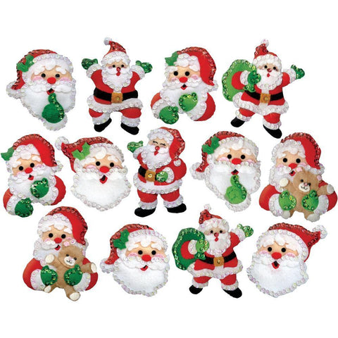 Design Works Felt Ornament Applique Kit 13 pack - Joyful Santa