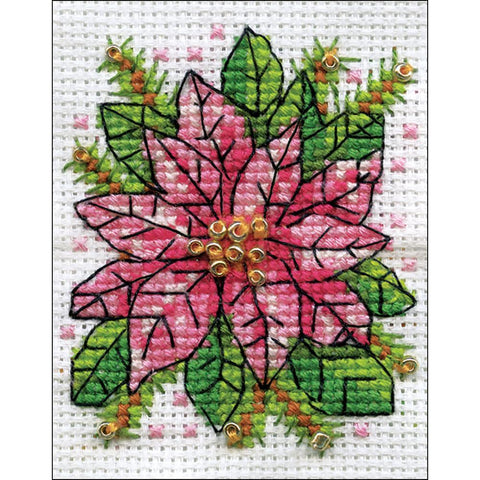 Design Works Counted Cross Stitch Kit 2x3 inch - Poinsettia (14 Count)