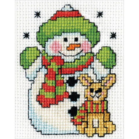 Design Works Counted Cross Stitch Kit 2x3 inch - Snowman with Frame Mini (18 Count)