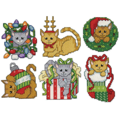 Design Works Plastic Canvas Ornament Kit 3x3.5 inch Set Of 6 - Christmas Kittens (14 Count)