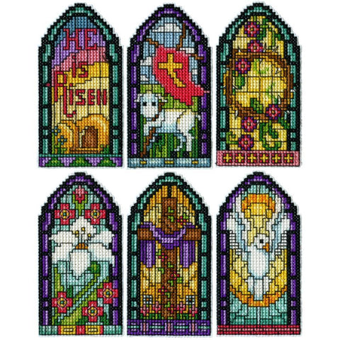 Design Works Plastic Canvas Ornament Kit 2x4 inch Set Of 6 - Stained Glass (14 Count)