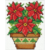 Design Works Ornament Counted Cross Stitch Kit 2 inch X3 inch Poinsettias
