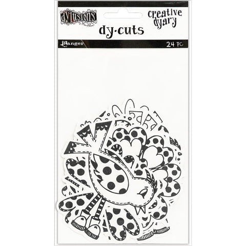 Dyan Reaveleys Dylusions Creative Dyary Die Cuts - Black & White Birds & Flowers
