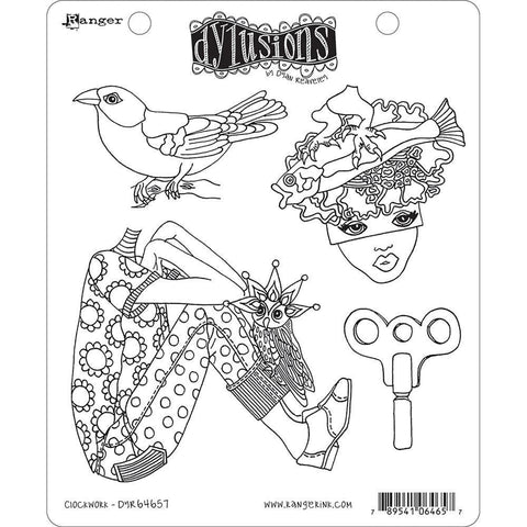 Dyan Reaveley Dylusions Cling Stamps 8.5x7 inch - Clockwork
