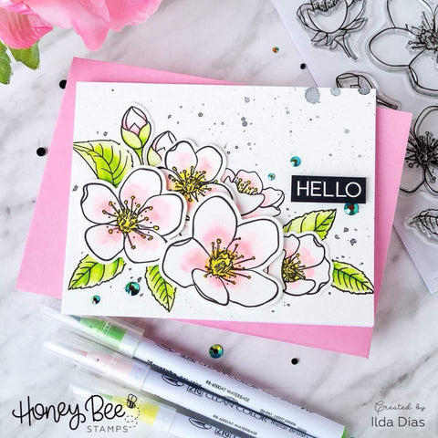 Honey Bee 4x6 inch Stamp Set - Spring Blossoms