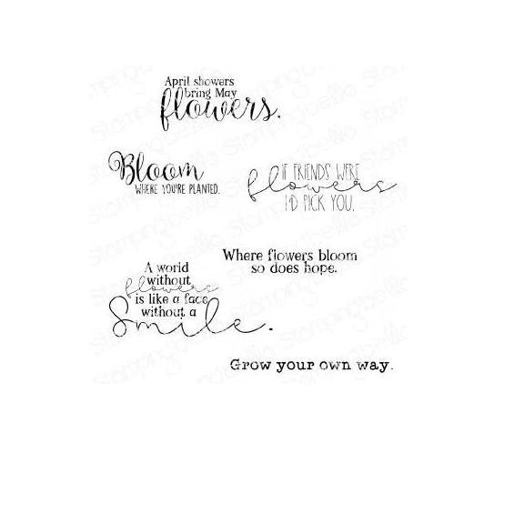 Stamping Bella Cling Stamps - Spring Sentiment Set - Grow your own way is approx. 0.25 x 2.5 in.