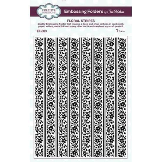 Sue Wilson Embossing Folder 5.75inch x 7.5inch Floral Stripes