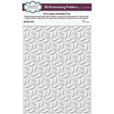 Creative Expressions 3D Embossing Folder 5.75 inch X7.5 inch - Stylised Poinsettia