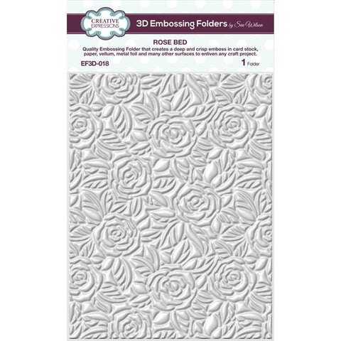 Creative Expressions 3D Embossing Folder 5.75 inch X7.5 inch - Rose Bed