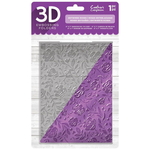 Crafters Companion - 3D Embossing Folder 5x7 inch  - Entwined Rose