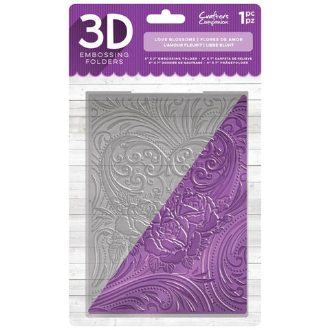Crafters Companion 3D Embossing Folder 5 inch X7 inch - Love Blossoms