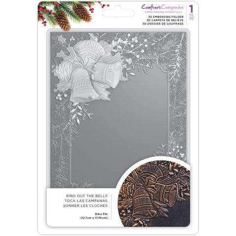 Crafters Companion 3D Embossing Folder 5x7 inch - Ring Out The Bells
