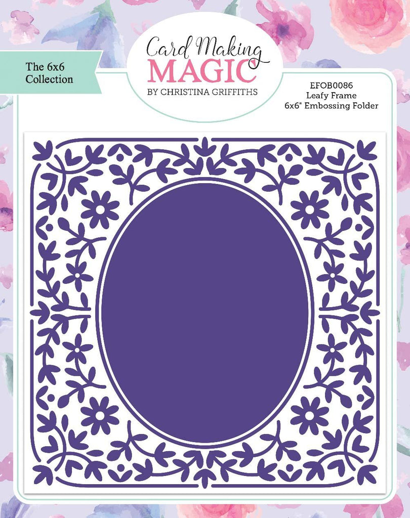 Craft Essentials - The Christina Griffiths Card Making Magic 6x6inch Collection - Leafy Frame 6x6 embossing folder