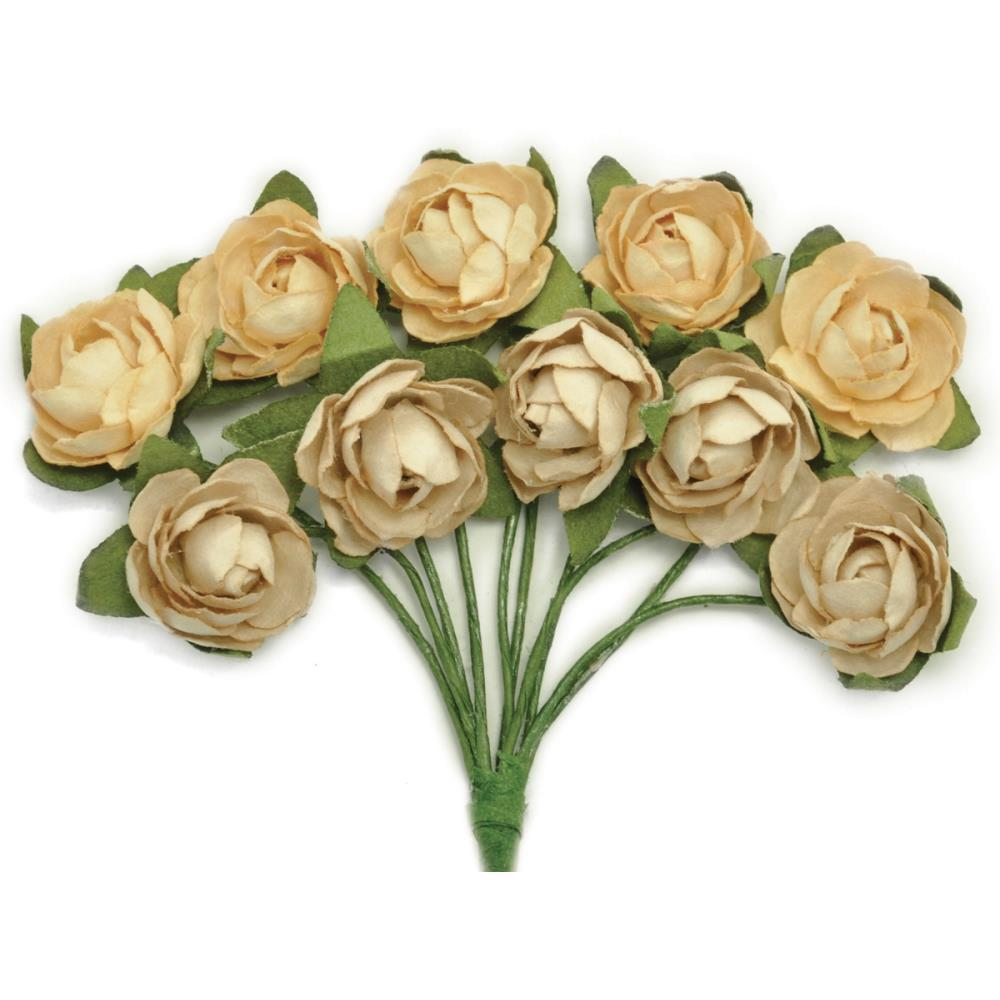 Kaisercraft - Mini Paper Blooms .5 inch Flowers with wire Stems 10 pack - Honey