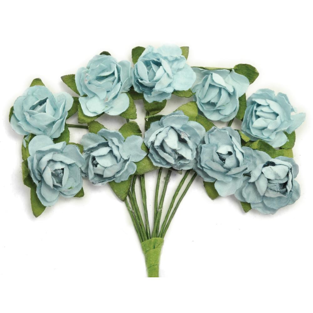Kaisercraft - Mini Paper Blooms .5 inch Flowers with wire Stems 10 pack - Iceberg