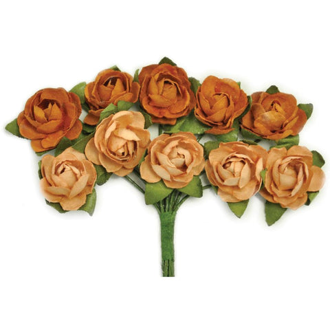 Kaisercraft - Mini Paper Blooms .5 inch Flowers with wire Stems 10 pack - Terracotta