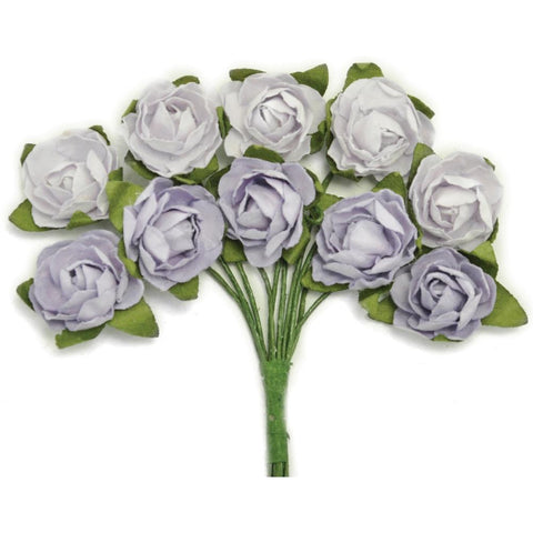 Kaisercraft - Mini Paper Blooms .5 inch Flowers with wire Stems 10 pack - Misty