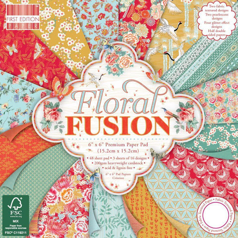 First Edition 6x6 inch Paper Pack 64 Pk - Floral Fusion