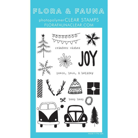 Flora & Fauna Clear Stamps 4x6 inch - Driving To The Holidays