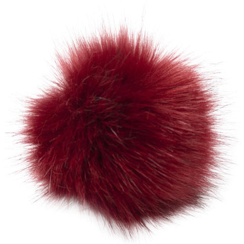 Pepperell - Faux Fur Pom With Loop - Dark Rouge