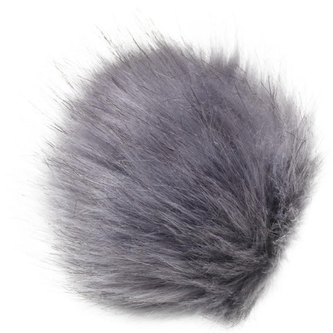 Faux Fur Pom With Loop - Grey