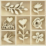 Kaisercraft Themed Mini Wooden Flourishes 40 pack - Blooming