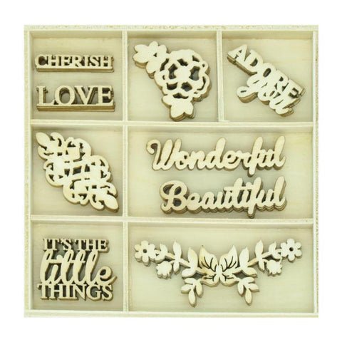Kaisercraft Themed Mini Wooden Flourishes 45 pack - Wonderful