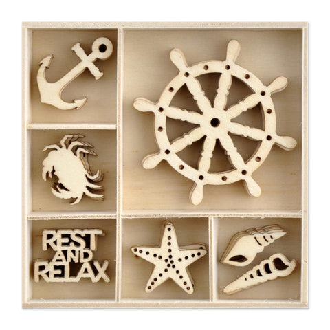 Kaisercraft - Wood Mini Themed Embellishments - Uncharted Waters