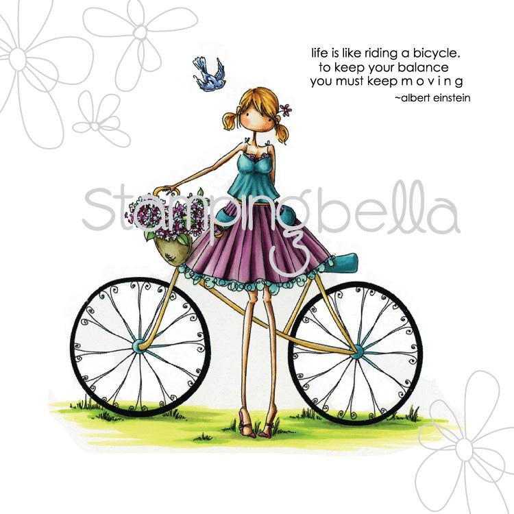 Stamping Bella Cling Stamp - Uptown Girl Flora & Her Bicycle