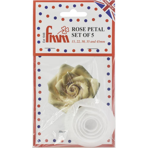 Fondant Icing Cutter Set 5 pack 5 - Rose Petal