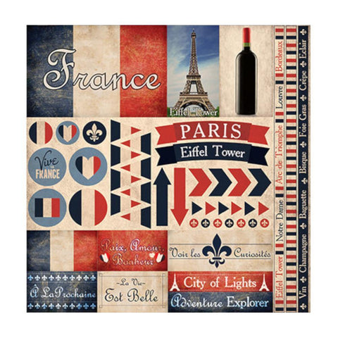 Reminisce Collection - France Elements Stickers 12x12 inch