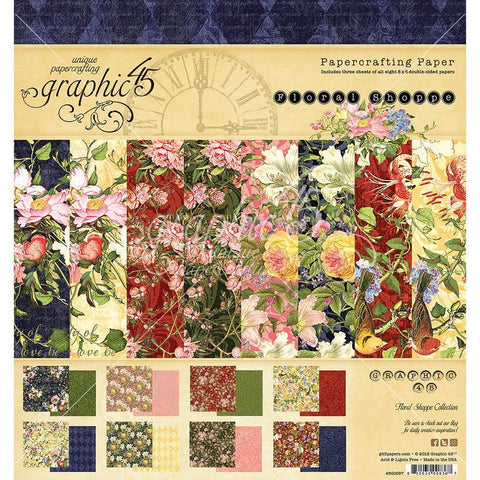 Graphic 45 - D/S Paper Pad 8x8 inch 24 pack - Floral Shoppe