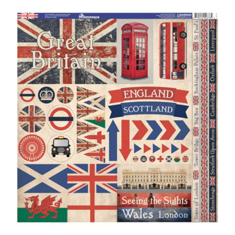 Reminisce Collection - Great Britain Elements Stickers 12x12 inch