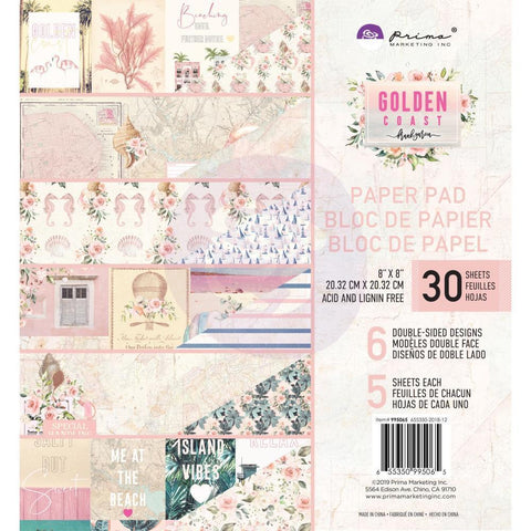 Prima Marketing D/S Paper Pad 8x8 inch 30 pack - Golden Coast