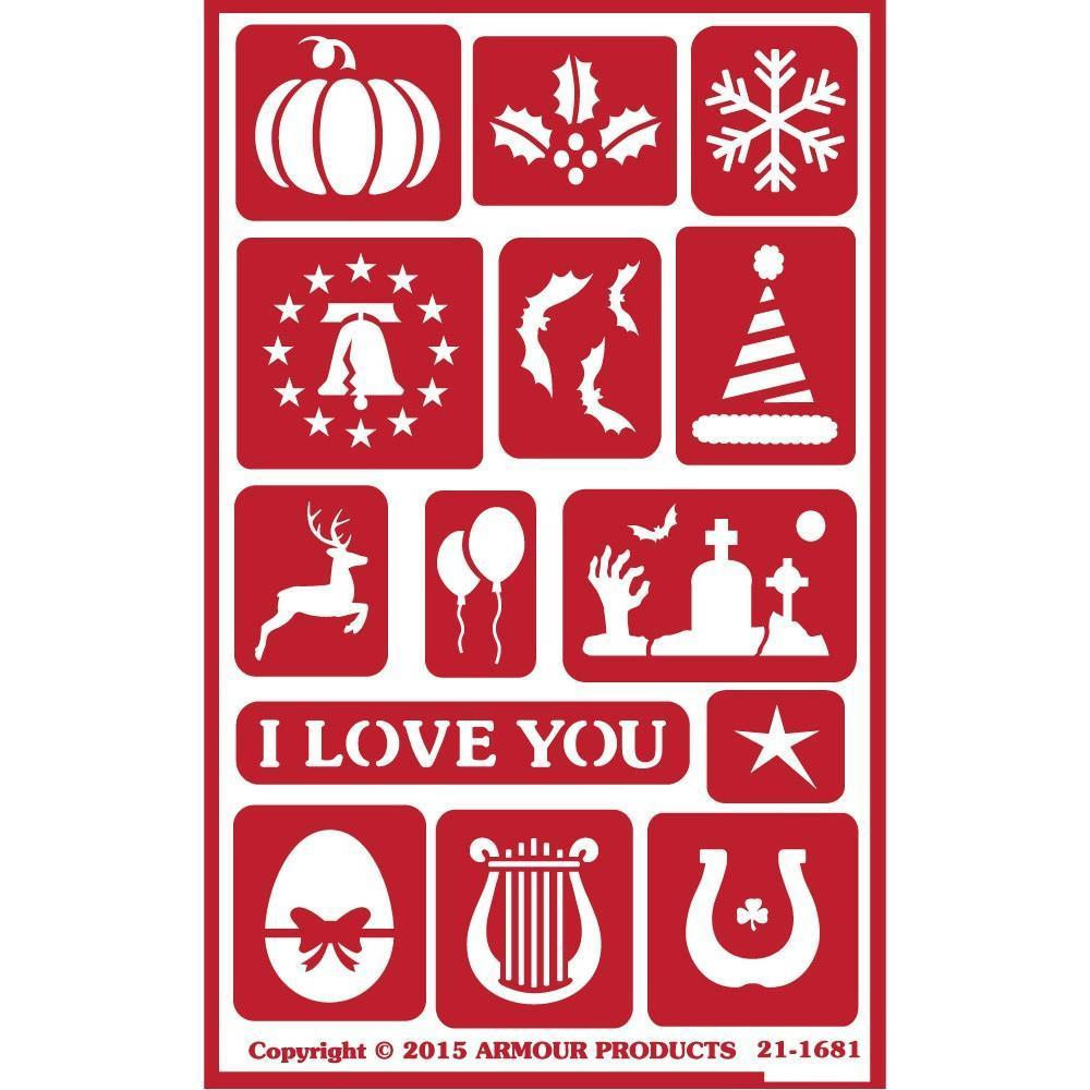 Armour Products - Over N Over Reusable Stencils 5x8 inch - Holiday Assorted