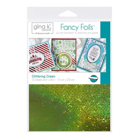 Gina K Designs Fancy Foil 6 inch X8 inch 12 pack Glittering Green
