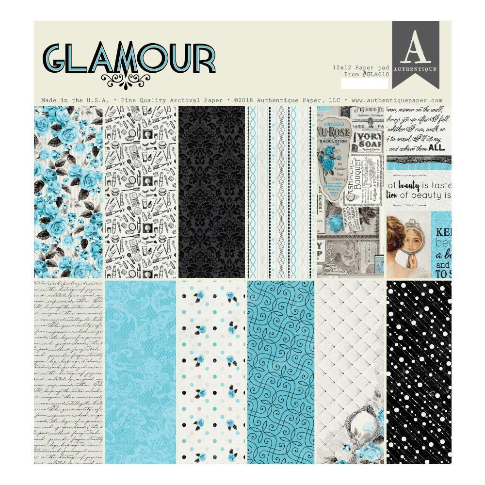Authentique D/S Cardstock Pad 12x12 inch 18 pack - Glamour