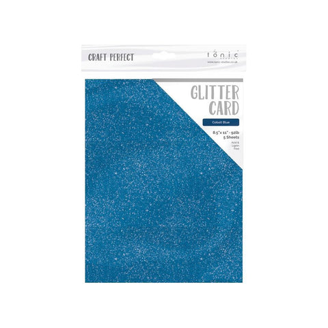 Tonic Studios Craft Perfect Glitter Cardstock 8.5in X 11in 5 pack - Cobalt Blue