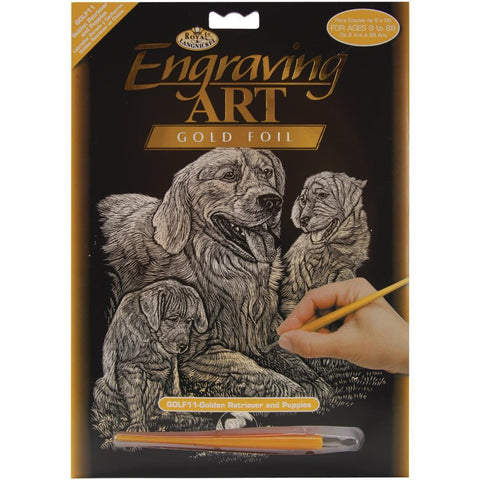Royal Brush - Gold Foil Engraving Art Kit 8 inch X10 inch - Golden Retriever & Puppies