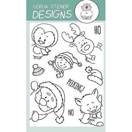 Gerda Steiner - Peeking Friends 4x6 inch Clear Stamp Set