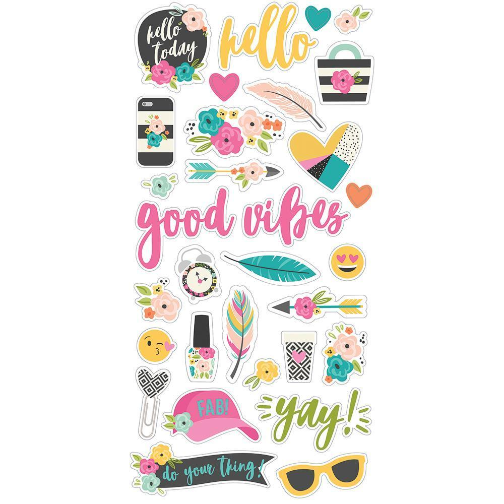 Simple Stories - Good Vibes Chipboard Stickers 6x12 inch