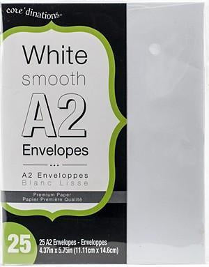 Coredinations - Heavyweight A2 Envelopes - 25 Pack White