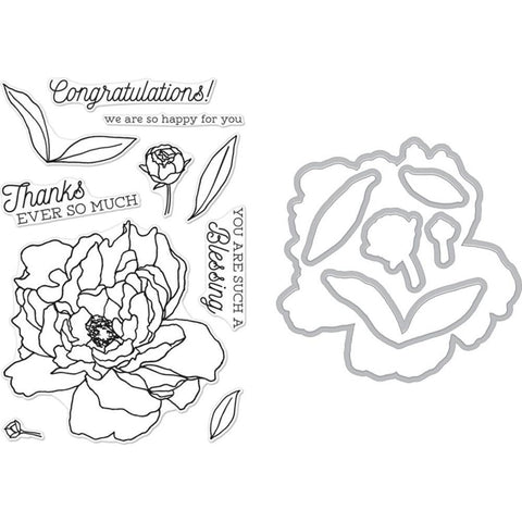 Hero Arts - Clear Stamp & Die Combo Peonies