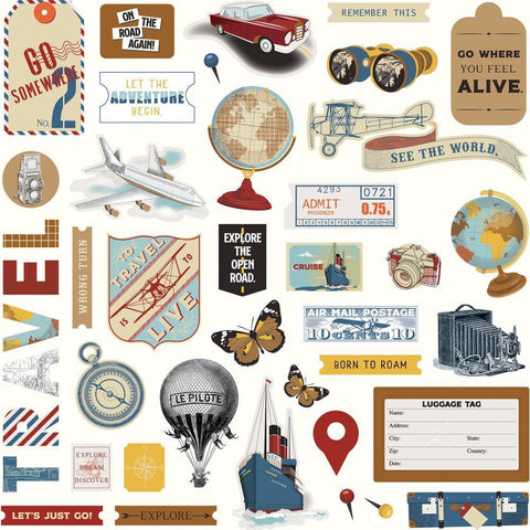 PhotoPlay - Here & There Stickers 12x12inch - Elements