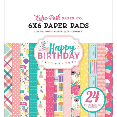 Echo Park D/S Paper Pad 6x6 inch 24 Pk - Happy Birthday Girl