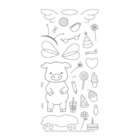 Honey Bee 4x8 inch Stamp Set - Pinky The Pig