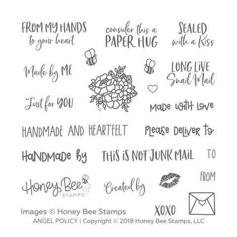 Honey Bee 4x4 inch Stamp Set - Angel Policy