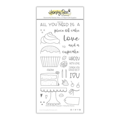 Honey Bee Stamps - 4x8 inch Stamp Set - Piece Of Cake