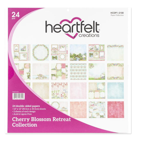 Heartfelt Creations D/Sided Paper Pad 12x12in 24 pack - Cherry Blossom Retreat